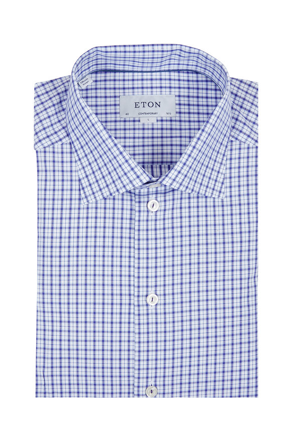 Eton Blue Windowpane Contemporary Fit Dress Shirt