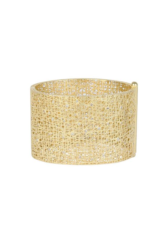 Yossi Harari 18K Yellow Gold Champagne Diamond Cuff Bracelet