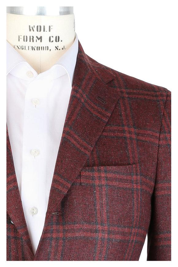 Kiton Brick & Gray Plaid Cashmere Blend Sportcoat
