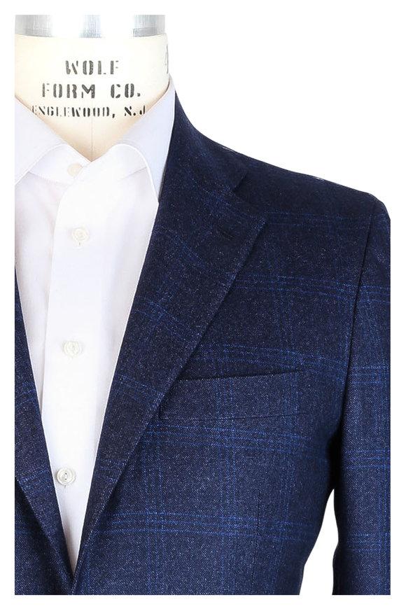 Kiton Navy Blue Plaid Cashmere Sportcoat