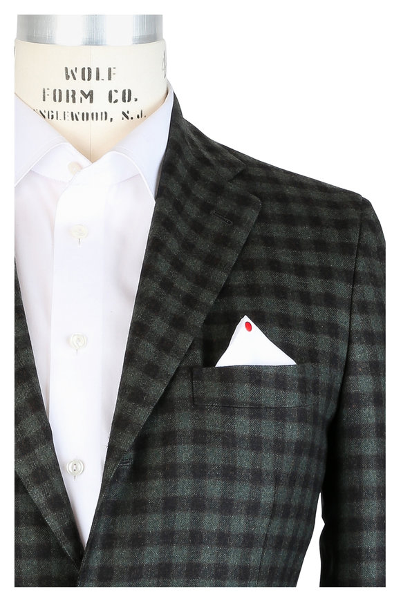 Kiton Olive Green & Brown Check Cashmere Sportcoat