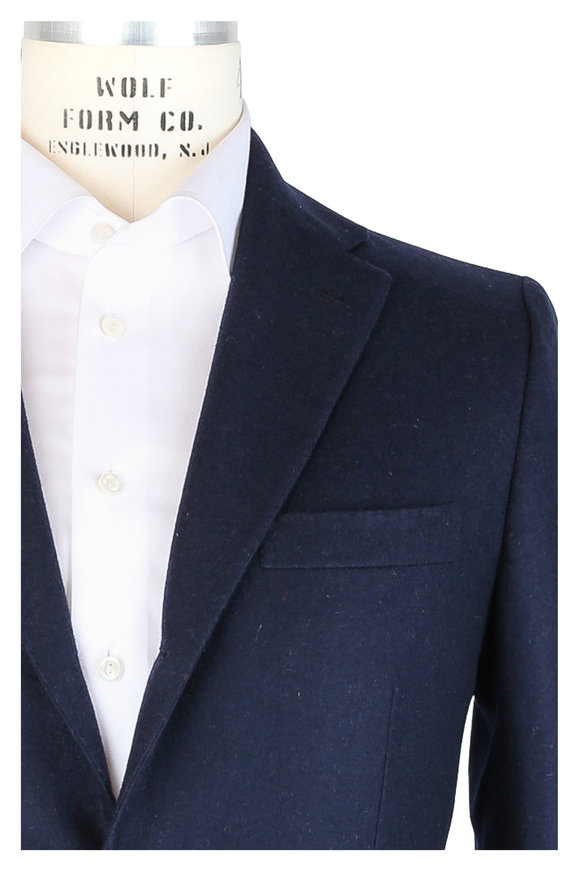 Kiton Navy Blue Double-Faced Cashmere Sportcoat