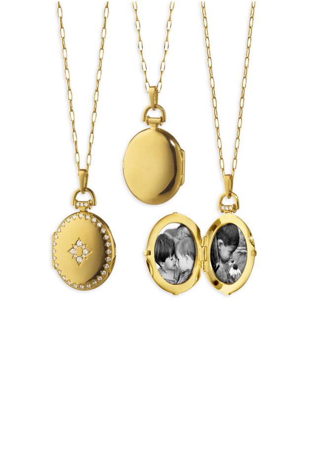 Yellow Gold Petite Snowflake Diamond Necklace