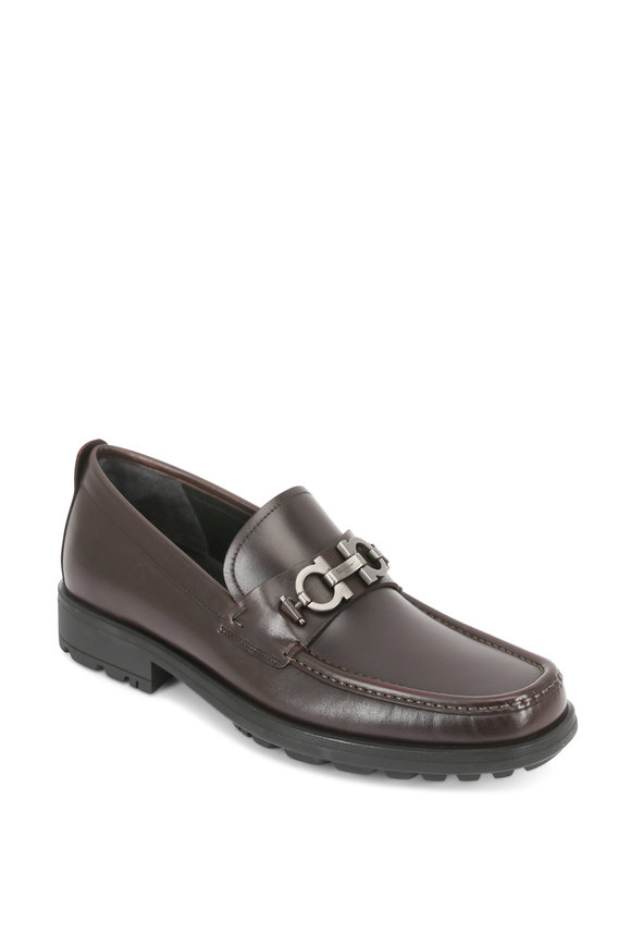 Salvatore Ferragamo David Hickory Brown Lug Sole Bit Loafer
