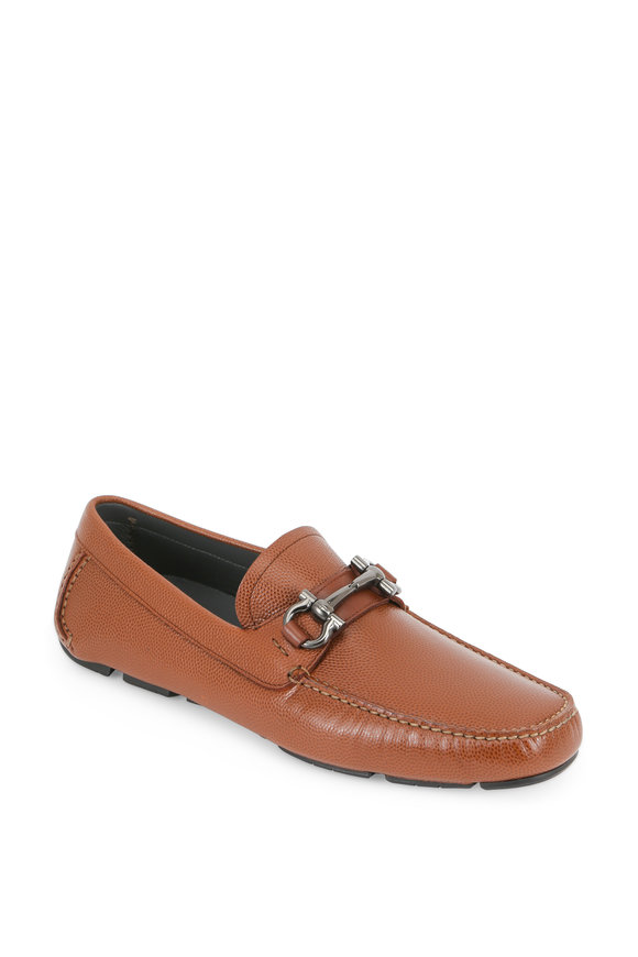 Salvatore Ferragamo Parigi Light Brown Pebbled Leather Bit Driver
