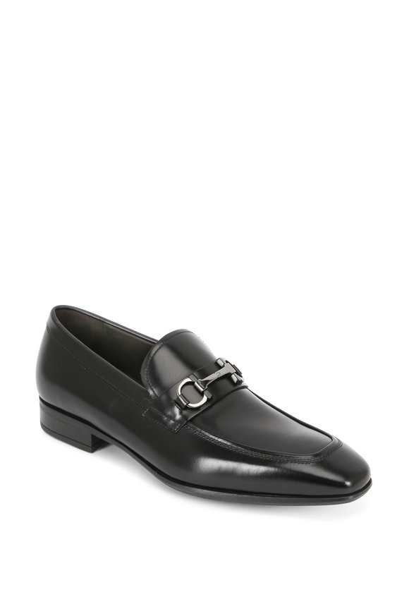 Salvatore Ferragamo Dinamo Black Leather Gancini Bit Loafer