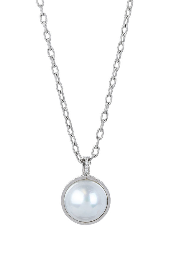 Frank Ancona 18K White Gold South Sea Pearl & Diamond Necklace