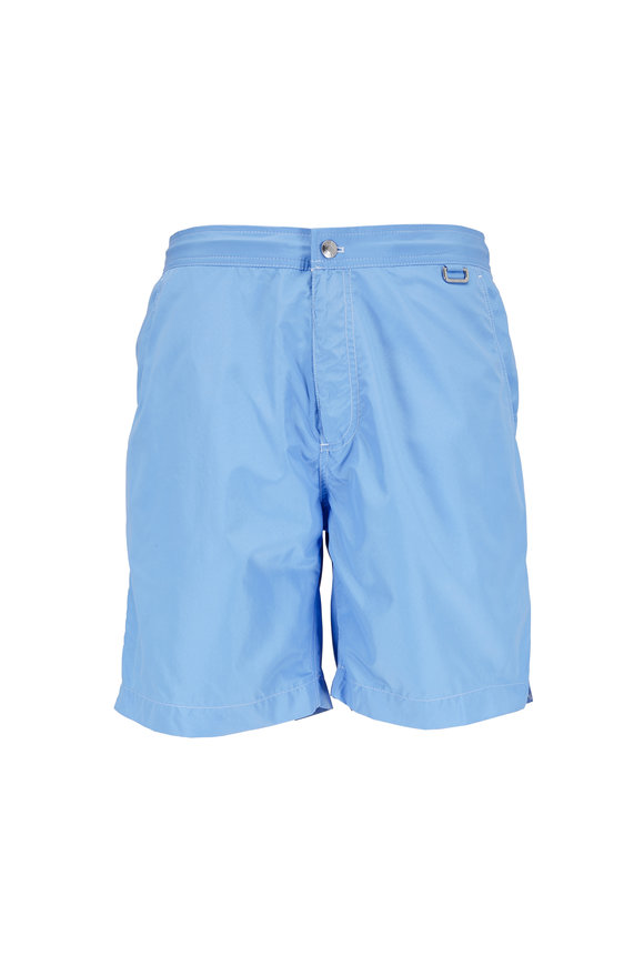 Peter Millar Collection Excursionist Solid Blue Swim Trunks