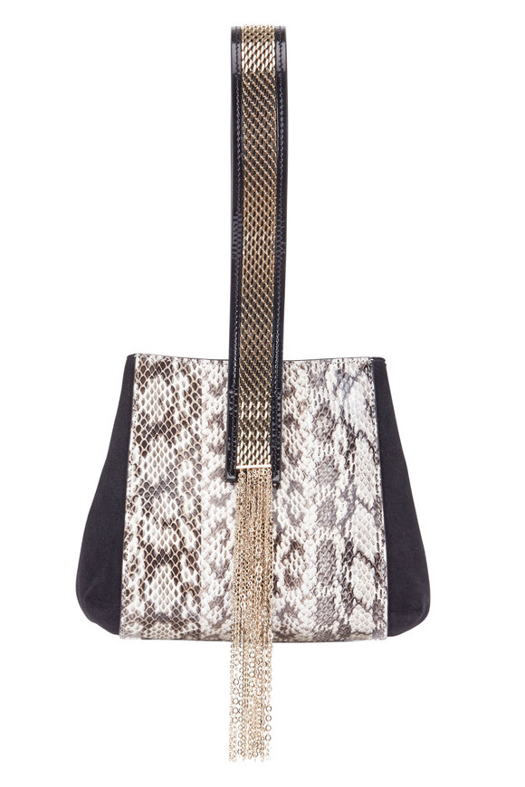 Lanvin Black Suede & Python Small Wristlet Bag