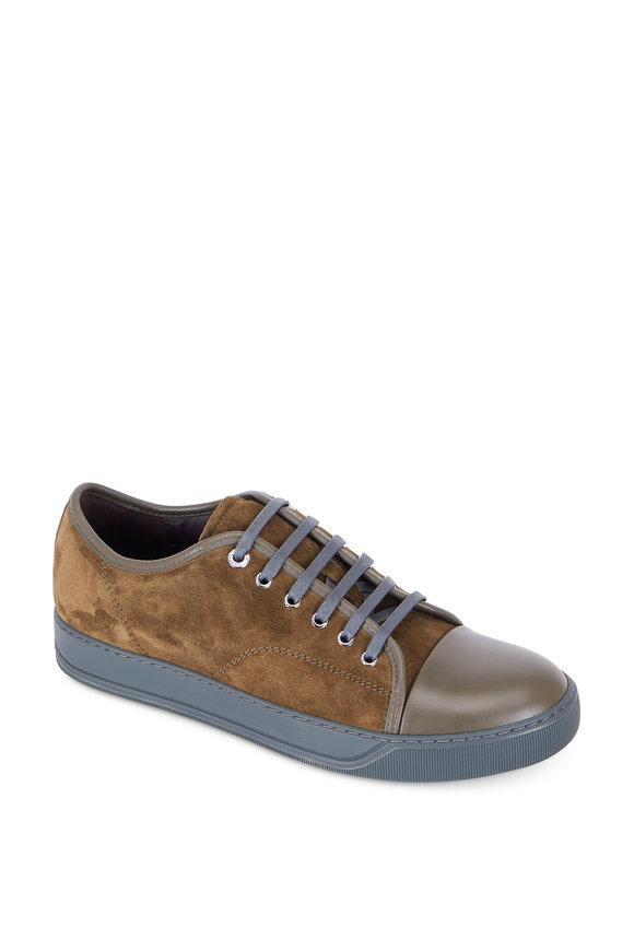 Lanvin Olive Green Embossed Suede Cap-Toe Sneaker