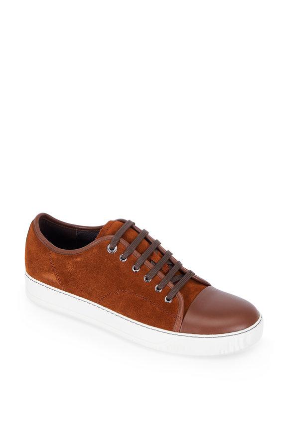 Lanvin Chestnut Suede Cap-Toe Sneaker