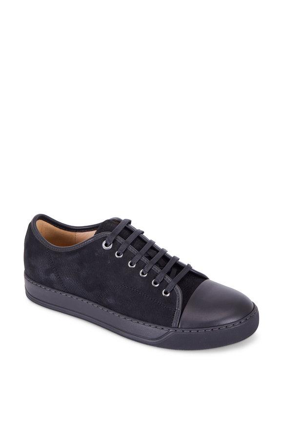 Lanvin Black Suede Cap-Toe Sneaker