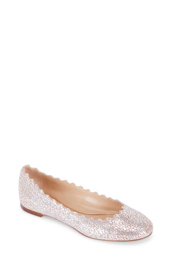 Chloé Lauren Blush Cracked Foil Leather Ballet Flat