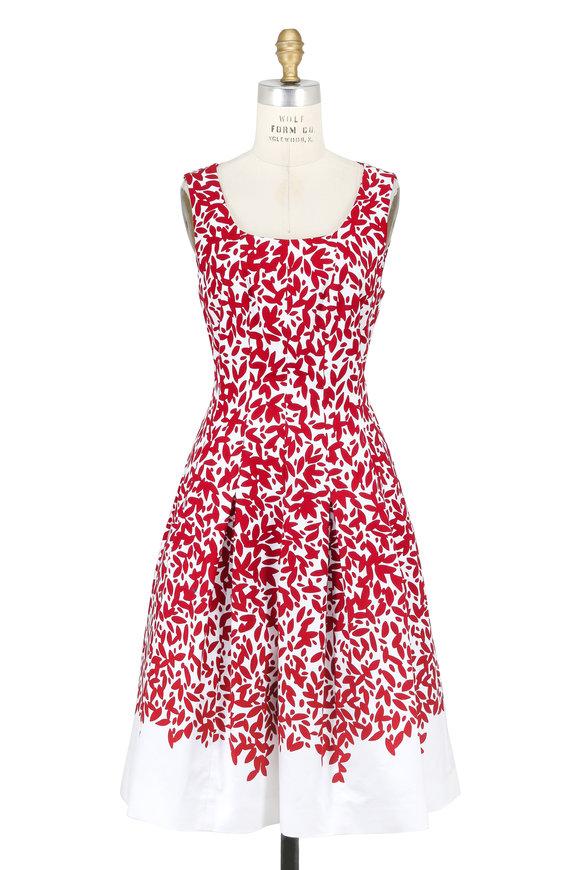Oscar de la Renta Red & White Leaf Printed Sleeveless Dress