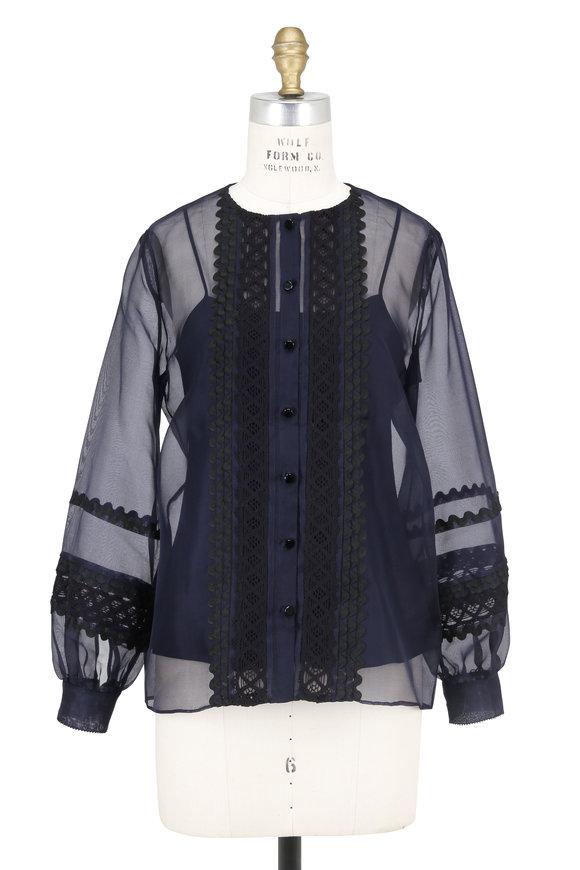 Oscar de la Renta Black & Navy Sheer Silk Blouse With Cami