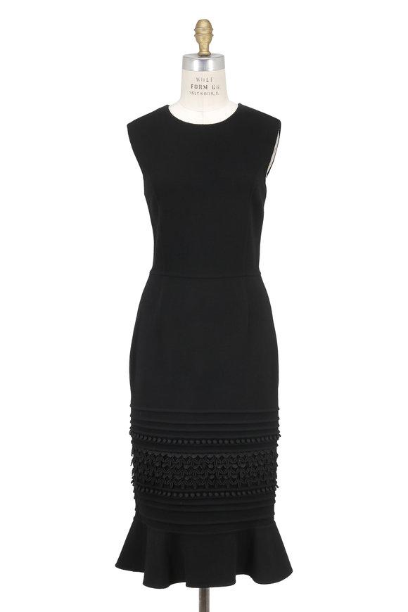 Oscar de la Renta Black Silk Ruffled Hem Sleeveless Dress