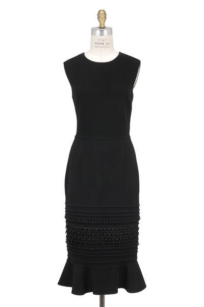 Oscar de la Renta - Black Silk Ruffled Hem Sleeveless Dress