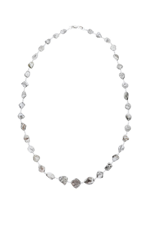 Kathleen Dughi 14K White Gold Gray Diamond Slice Necklace