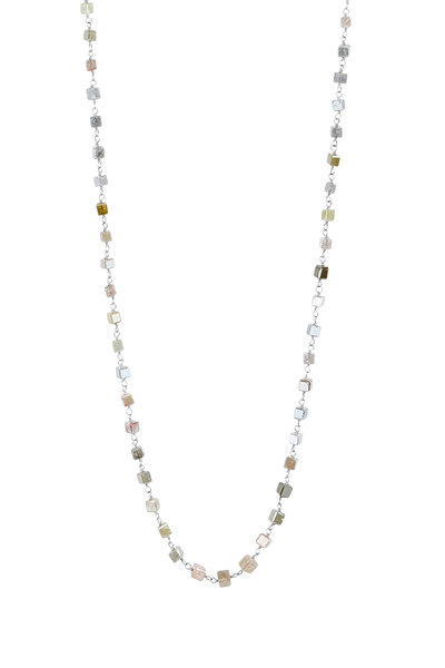 Kathleen Dughi - 14K White Gold Gray Diamond Beaded Necklace