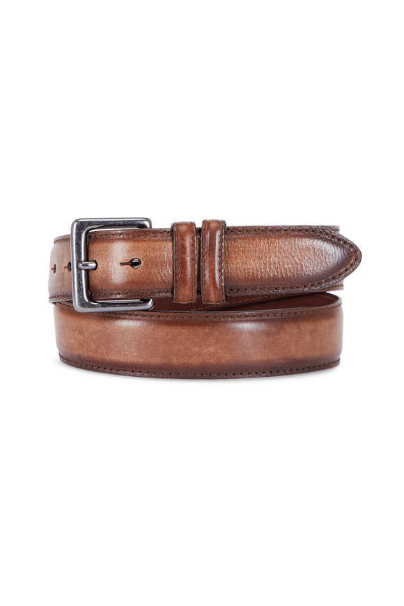 Torino Dark Brown Italian Antiqued Leather Belt