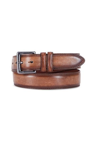 Torino - Dark Brown Italian Antiqued Leather Belt