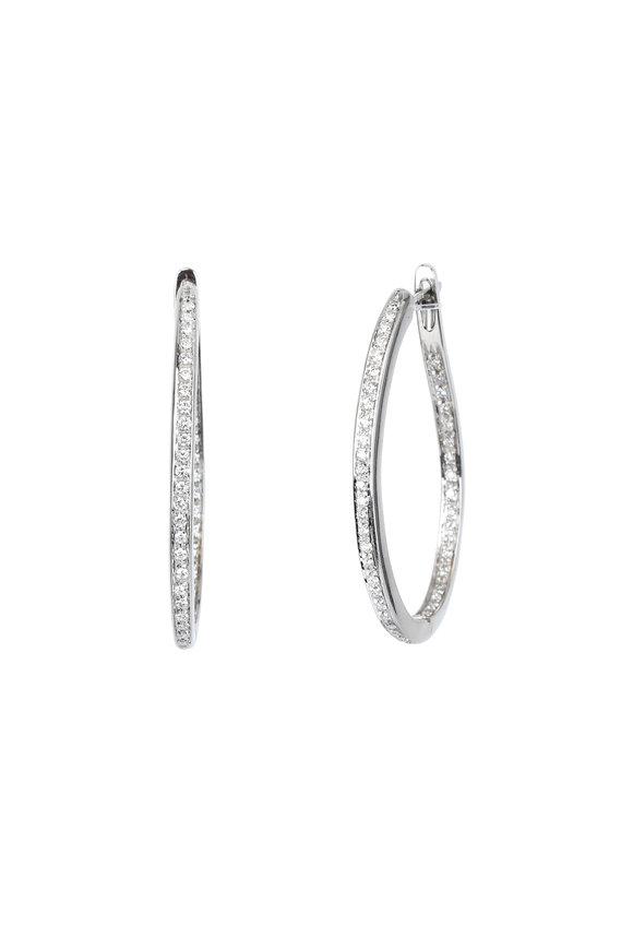 Kathleen Dughi 18K White Gold Diamond Hoops