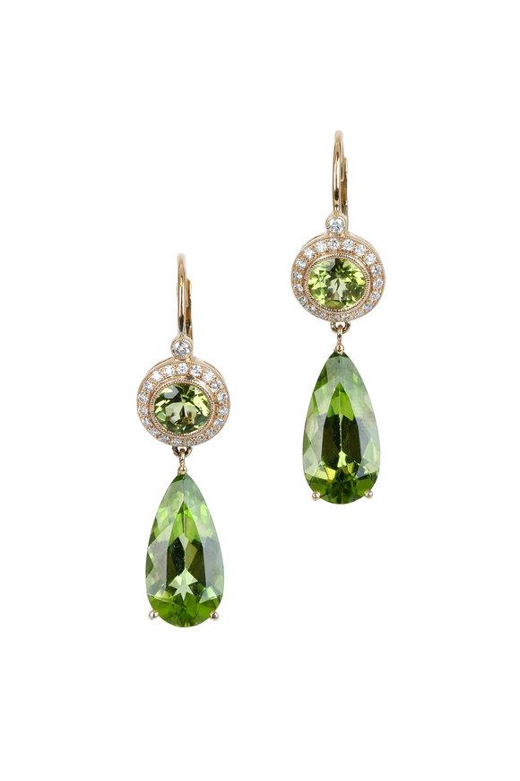 Kathleen Dughi 14K & 18K Yello Gold Peridot & Diamond Earrings