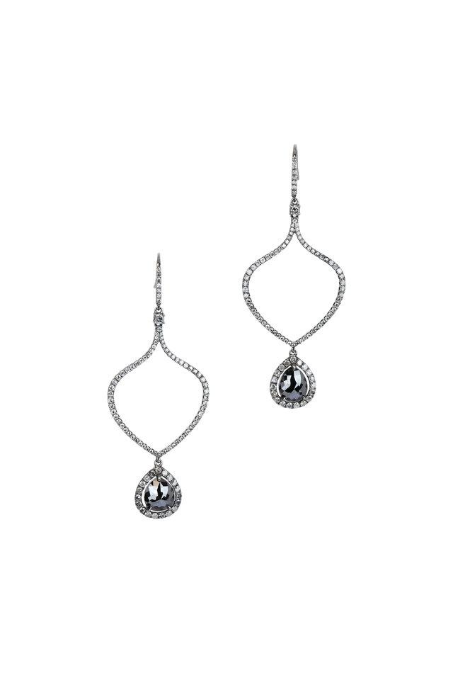 18K Gold Gray & Black Diamond Open Frame Earrings