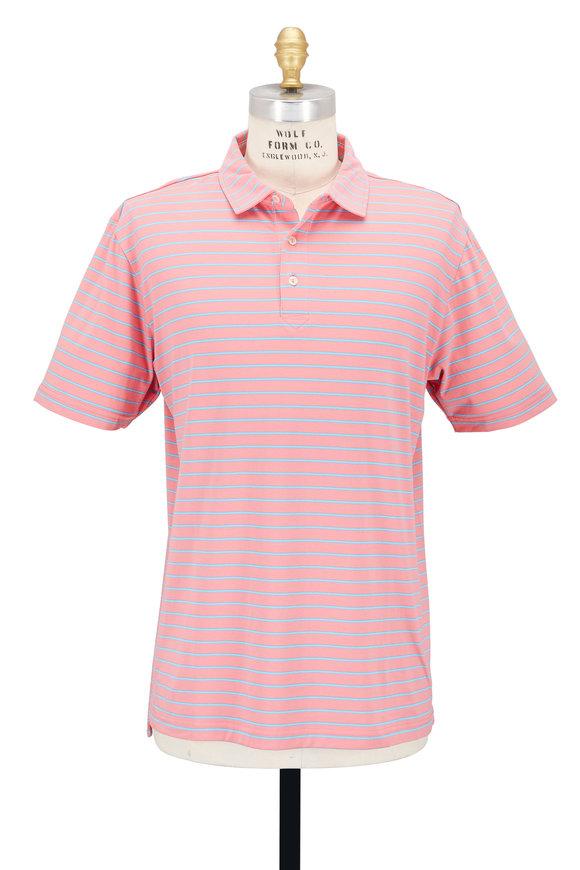 Peter Millar Pink Striped Seaside Wash Polo