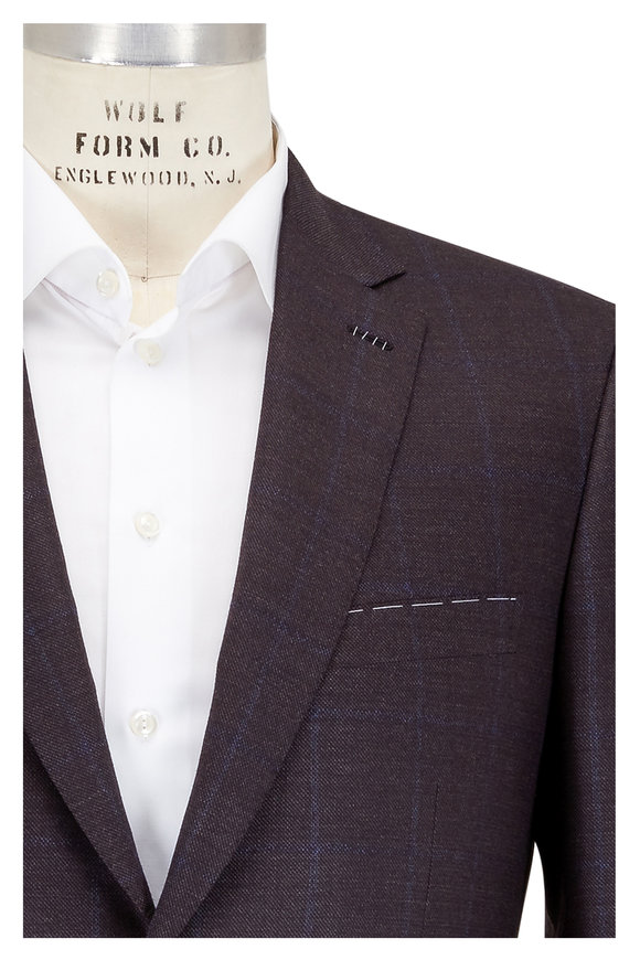 Brioni Brown & Navy Blue Plaid Wool Suit