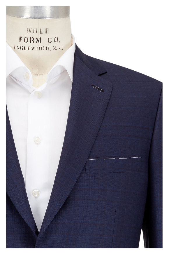 Brioni Navy Blue Tonal Plaid Wool Suit