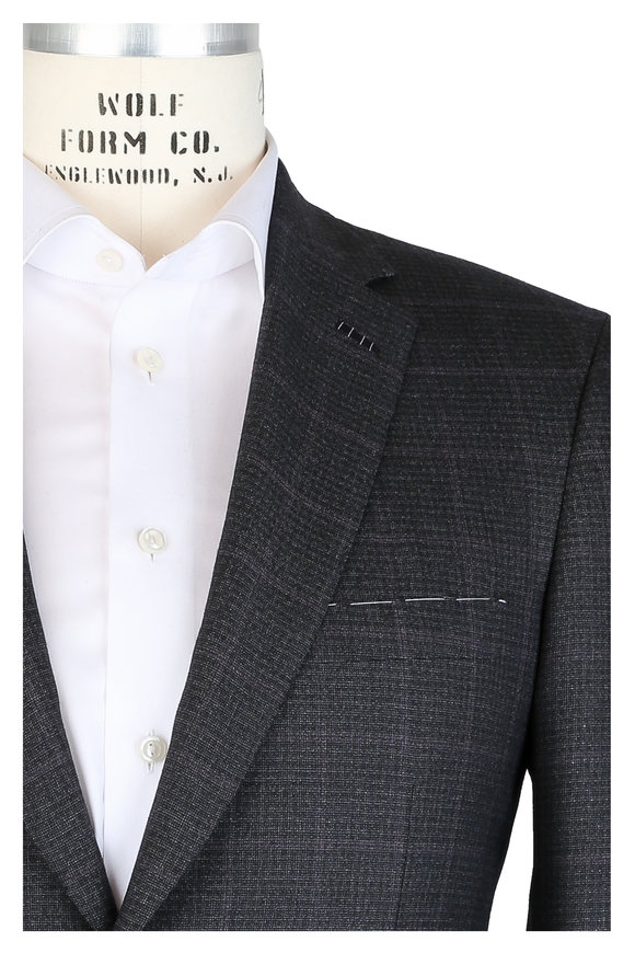 Brioni Charcoal Gray Grid Wool & Silk Suit