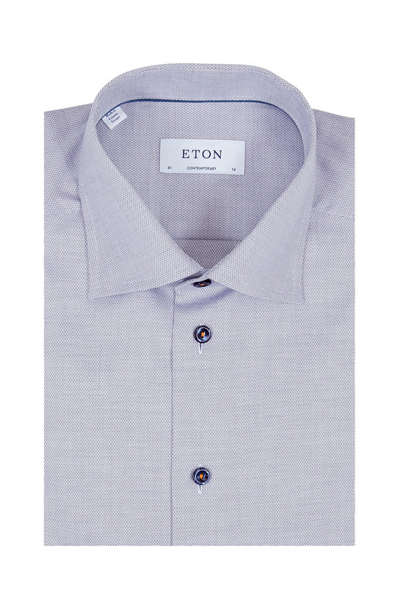 Eton Slate Birdseye Texture Dress Shirt