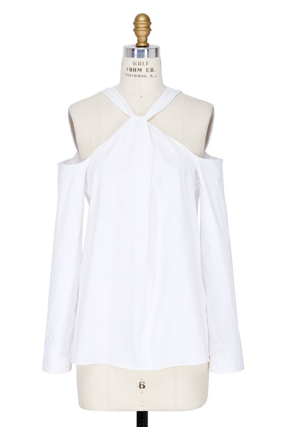 Rag & Bone Collingwood White Cold-Shoulder Top