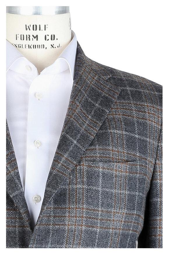 Kiton Gray & Copper Plaid Cashmere Sportcoat