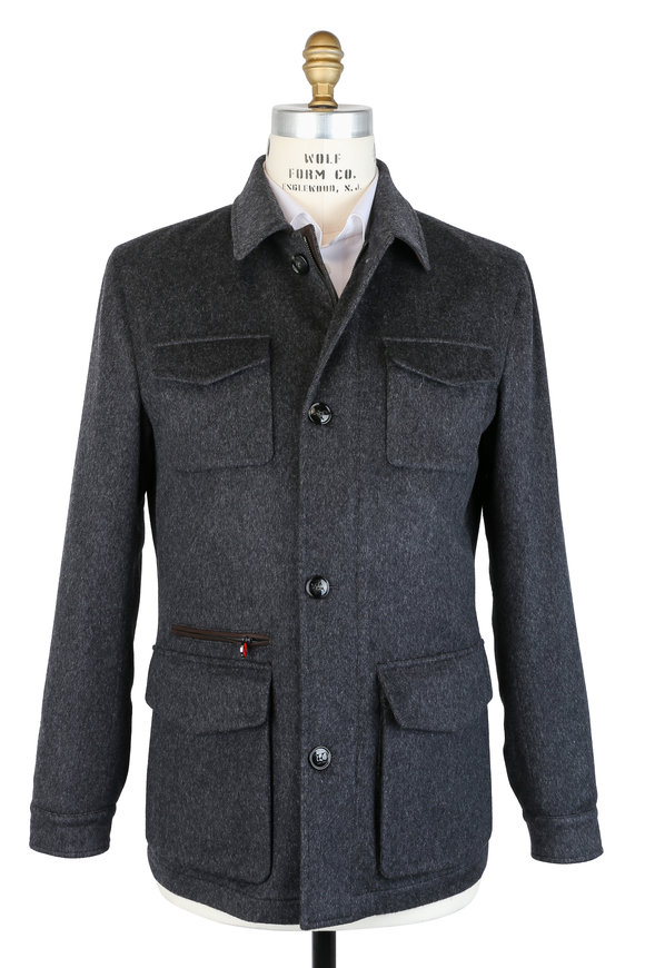 Kiton Charcoal Gray Cashmere Safari Jacket