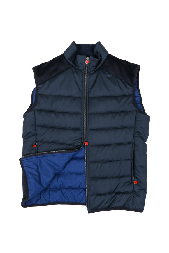 Kiton Navy Blue Wool & Silk Vest
