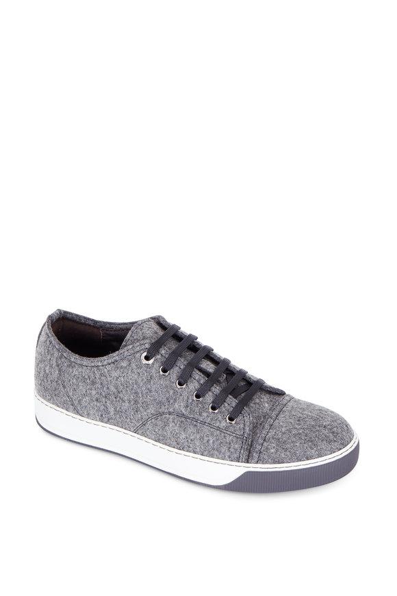 Lanvin Charcoal Gray Felt Cap-Toe Sneaker