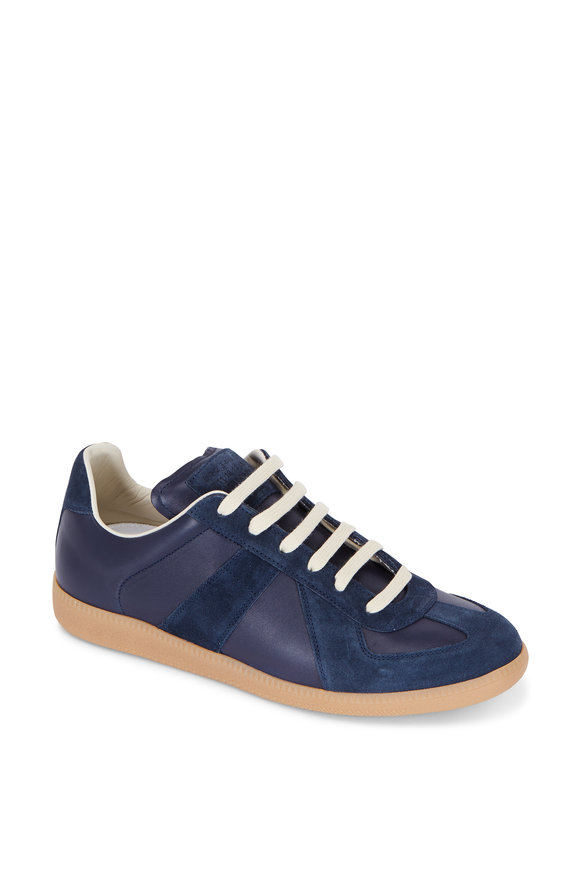 Maison Margiela Replica Navy Blue Leather & Suede Sneaker