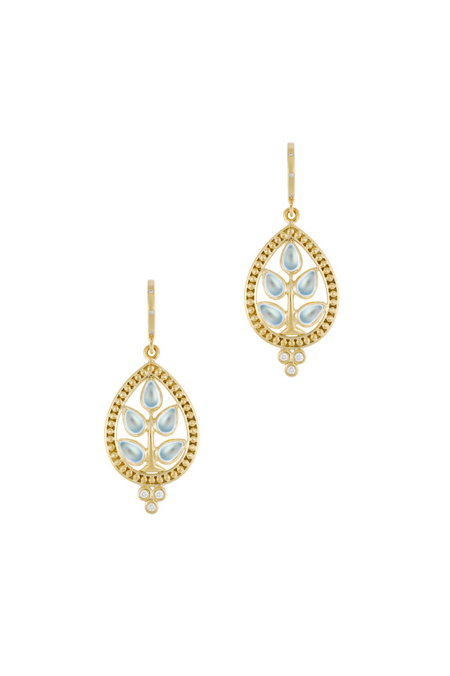 Yellow Gold Tree Of Life Diamond Earrings