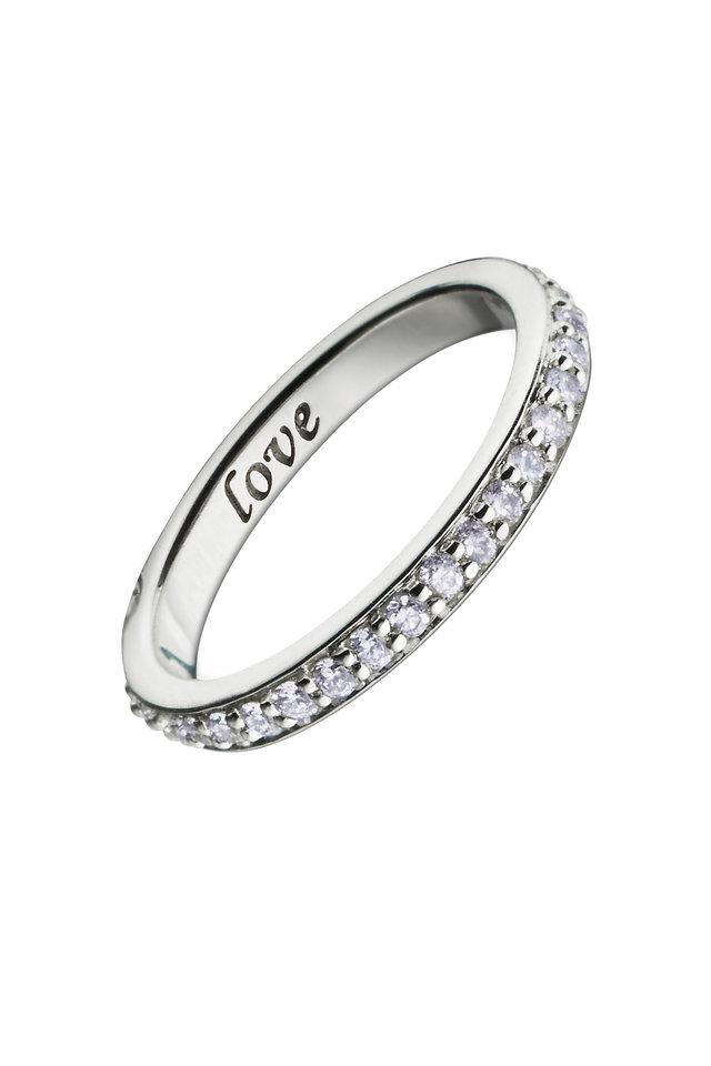 "18K White Gold Diamond ""Love"" Posey Ring"