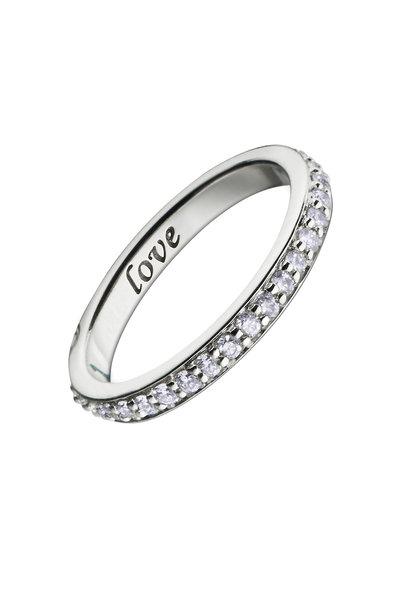 """Monica Rich Kosann - 18K White Gold Diamond """"Love"""" Posey Ring"""