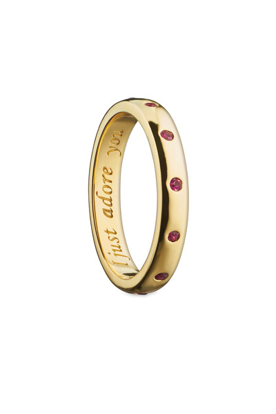 "Monica Rich Kosann - 18K Yellow Gold Ruby ""I Just Adore You"" Posey Ring"