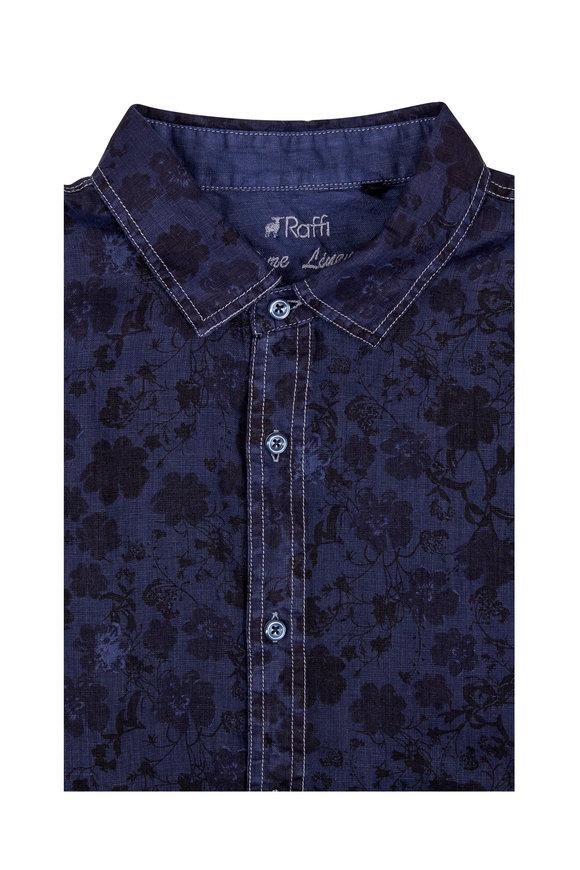 Raffi  Navy Blue Floral Print Linen Sport Shirt