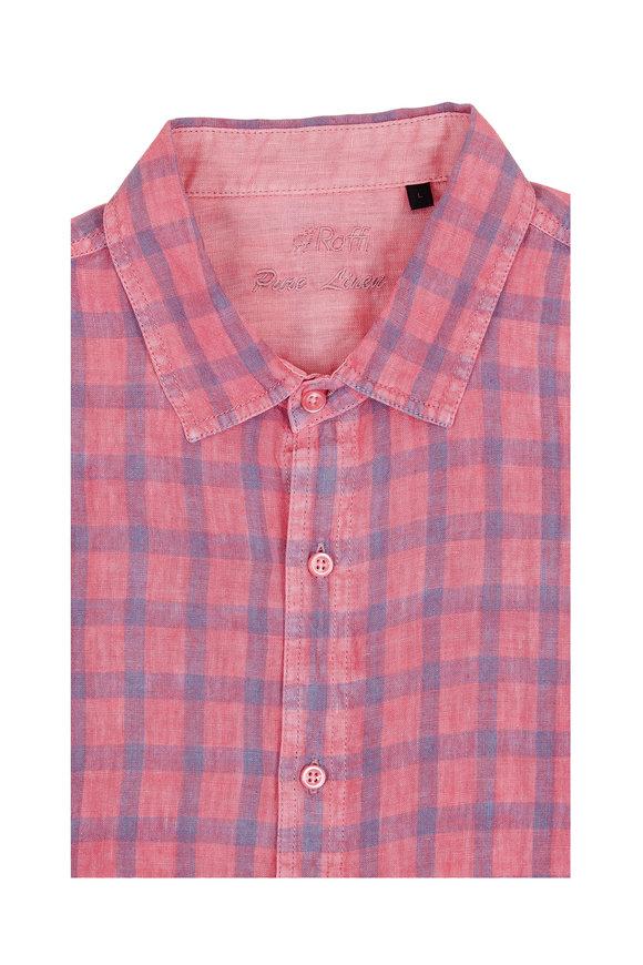 Raffi  Rouge Plaid Linen Sport Shirt