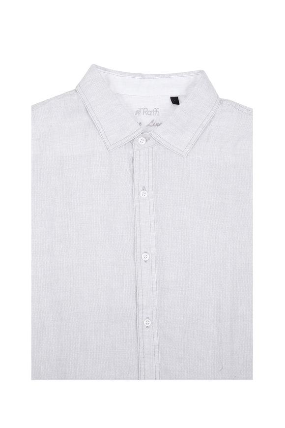 Raffi  Silver Dobby Print Linen Sport Shirt
