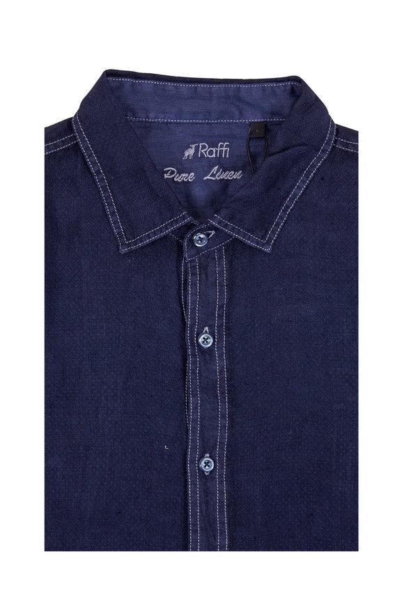 Raffi  Navy Blue Dobby Texture Linen Sport Shirt