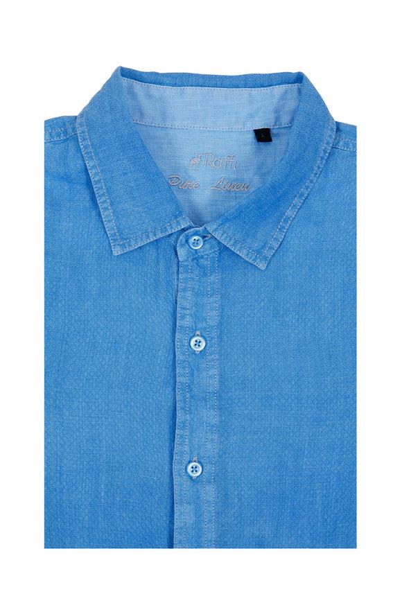 Raffi  Atlantic Blue Dobby Texture Linen Sport Shirt