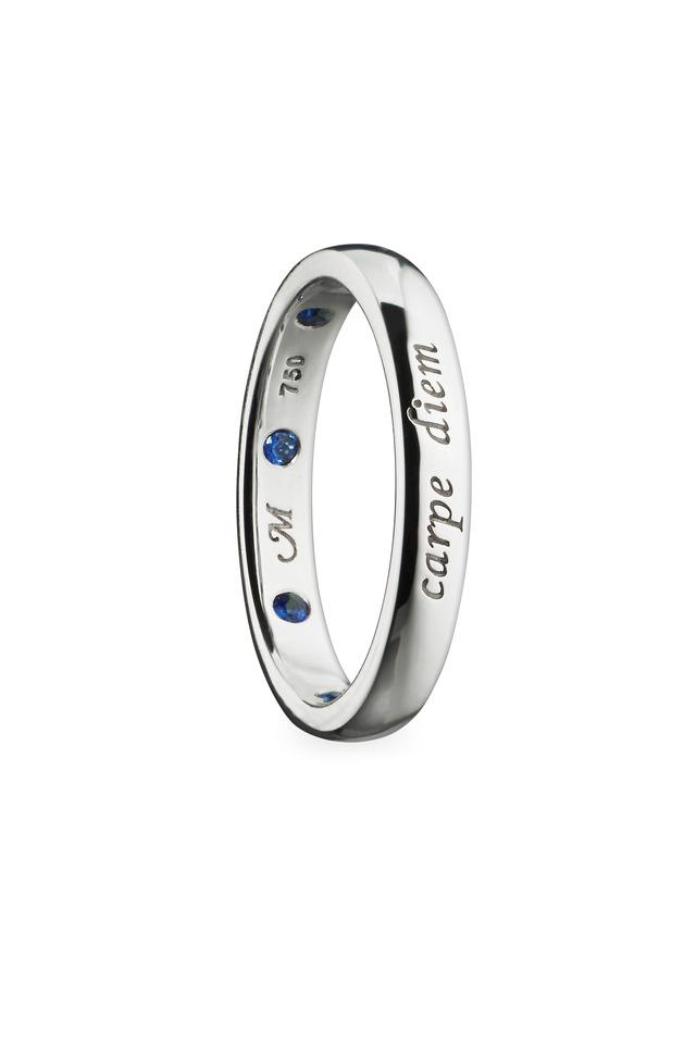 "18K White Gold Sapphire ""Carpe Diem"" Posey Ring"