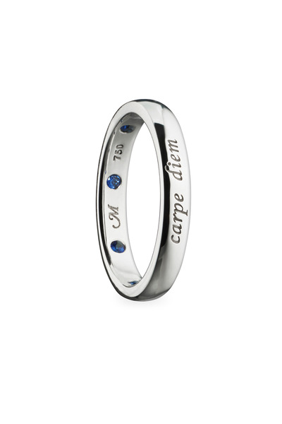 "Monica Rich Kosann - 18K White Gold Sapphire ""Carpe Diem"" Posey Ring"